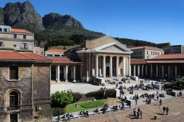 12092013 *UCT*  Students enjoying the cool, spring sun in-between lectures outside the Jameson Hall.  Photo: Michael Hammond.