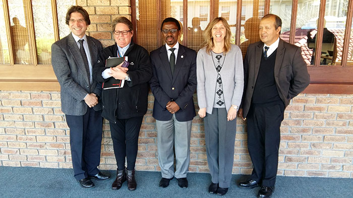 From left, Professors Dan Stein (Psychiatry), Lynnette Denny (Obstetrics and Gynaecology), Bongani Mayosi (Medicine), Heather Zar (Paediatrics) and Del Kahn (Surgery).